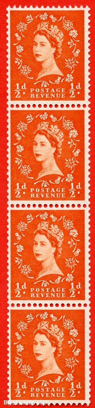 SG. 570. S4m. ½d Orange. A superb UNMOUNTED MINT example. Coil strip of 4. Cream paper. With a shamrock flaw ERROR. Roll 11 variety.