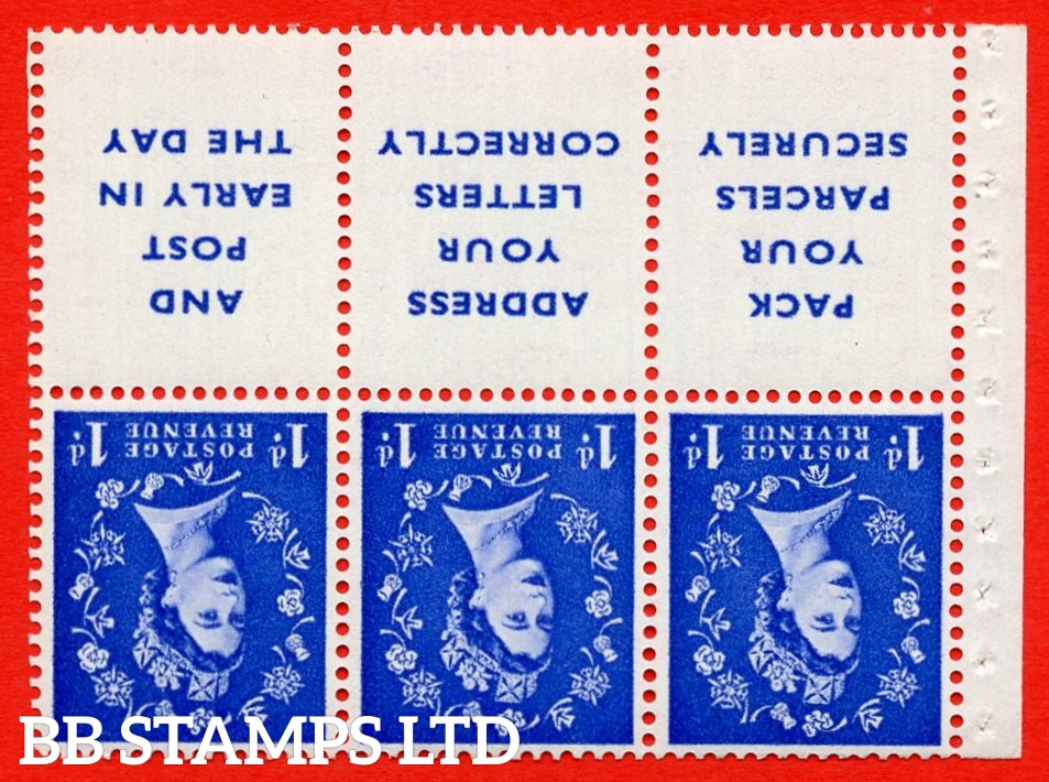 SG. 516Lawi. SB25a. 1d ultramarine. A fine UNMOUNTED MINT. WATERMARK INVERTED. Complete booklet pane of 6. Perf type (IS) with Good PERFS.