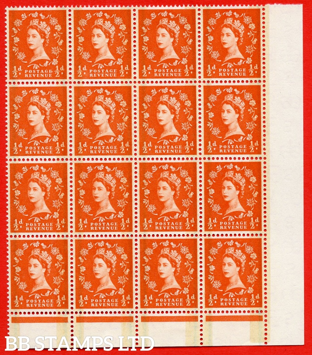 "SG. 599. S8b & S8c & S8a. ½d Orange. A superb MOUNTED MINT example. Bottom right corner positional block of 16. Phosphor Graphite. With a ""E"" Flaw ERROR. R.17/9 variety. Also Extra stem to thistle ERROR. R.18/10 variety. Narrow band at left or right ERROR"