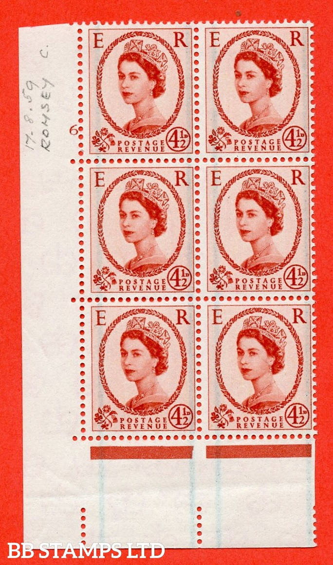 "SG. 594. S95. 4½d Chestnut. A superb UNMOUNTED MINT "" cylinder 6 no dot "" control block of 6 with perf type A E/I."
