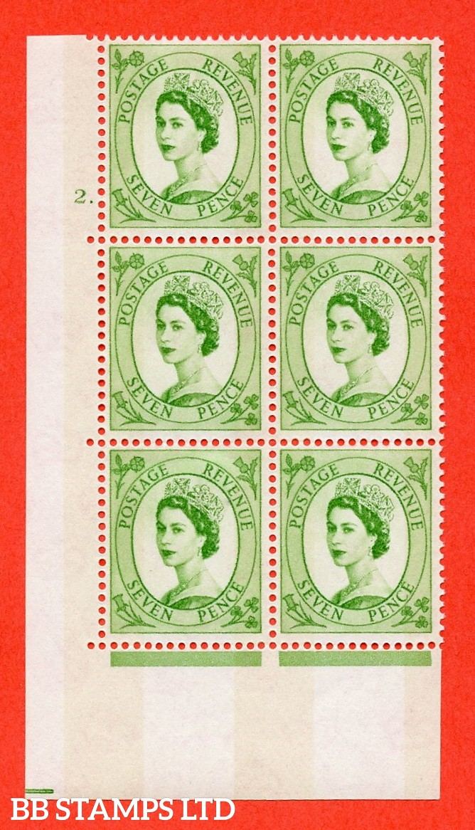 "SG.617a. S118. 7d Bright Green. A fine mounted mint "" cylinder 2 dot "" control block of 6 with perf type A (E/I). violet Phosphor 9½mm Band."