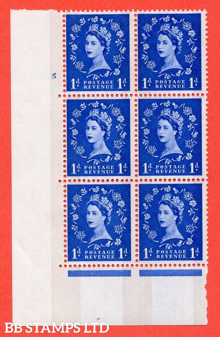 """SG.611. S23b. 1d Ultramarine. Photo. A superb UNMOUNTED MINT """" cylinder 5 no dot """" control block of 6 with perf type A (E/I). violet Phosphor 8mm Band."""