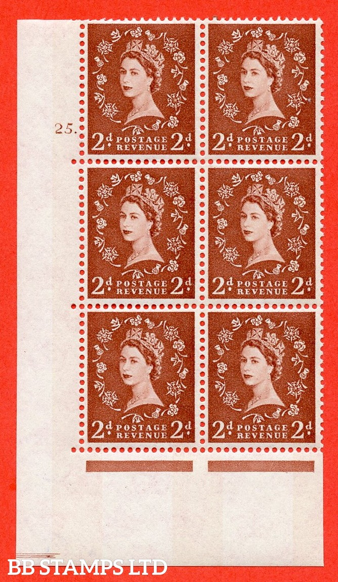 "SG.613a. S47. 2d  light red brown. A fine mounted mint "" cylinder 25 dot "" control block of 6 with perf type A (E/I). Blue Phosphor White paper"
