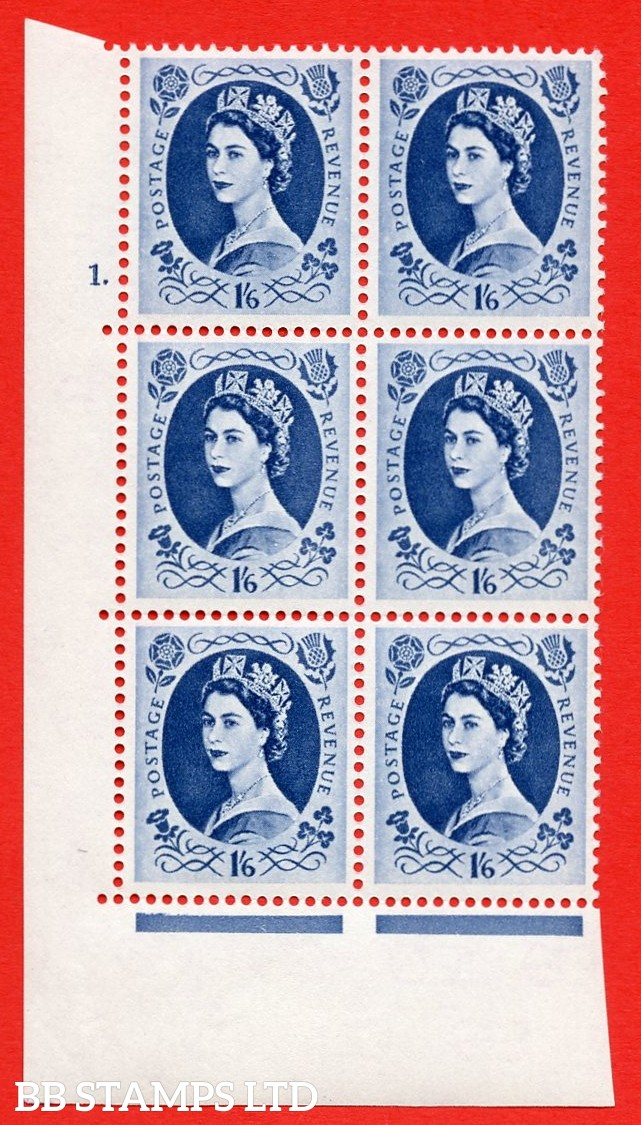 "SG S152. 1/_6d Grey Blue  A superb UNMOUNTED MINT "" cylinder 1 dot "" control block of 6 with perf type A (E/I)."