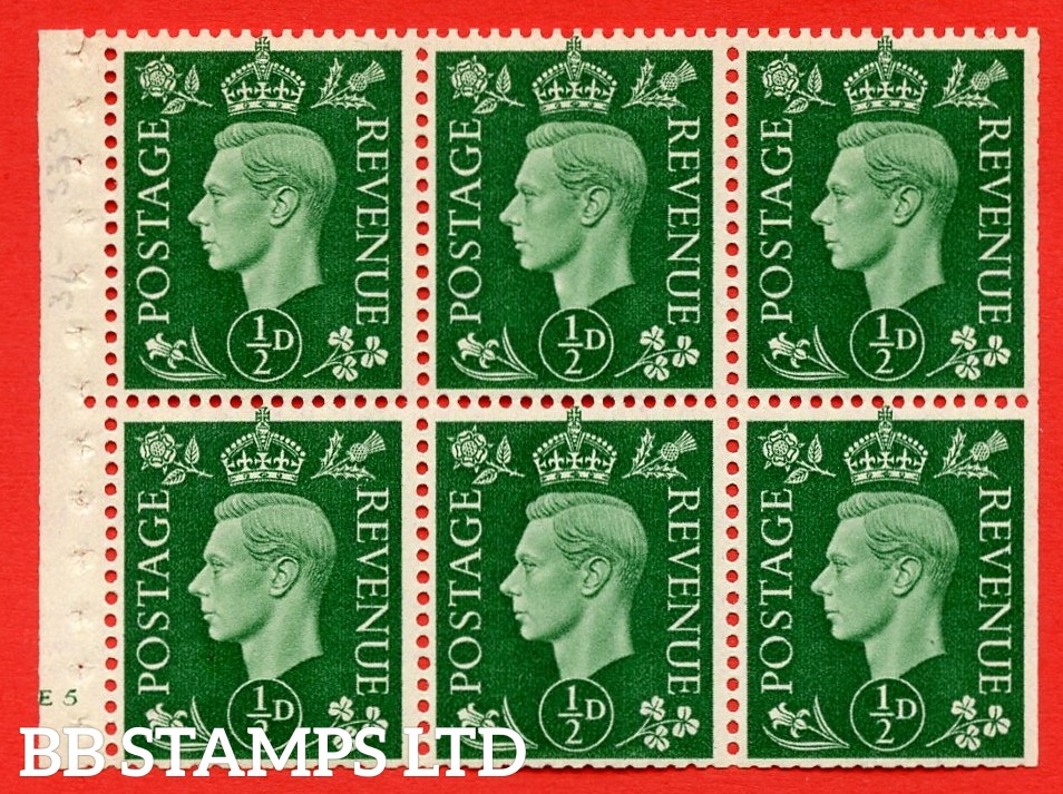 SG. QB1 Perf Type B4(E). ½d Green x 6 Pane, MOUNTED MINT Watermark Upright. Cylinder Pane E5 no dot ( SG. 462b ) Perf Type B4(E). Trimmed Perfs.