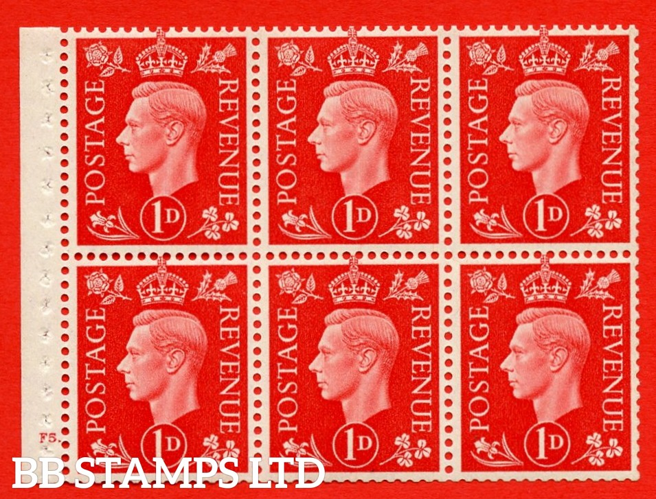 SG. QB10 Perf Type B4A(I) 1d Scarlet x 6 Pane, UNMOUNTED MINT Watermark Upright. Cylinder Pane F5 dot ( SG. 463b ) Perf Type B4A(I). Good Perfs.