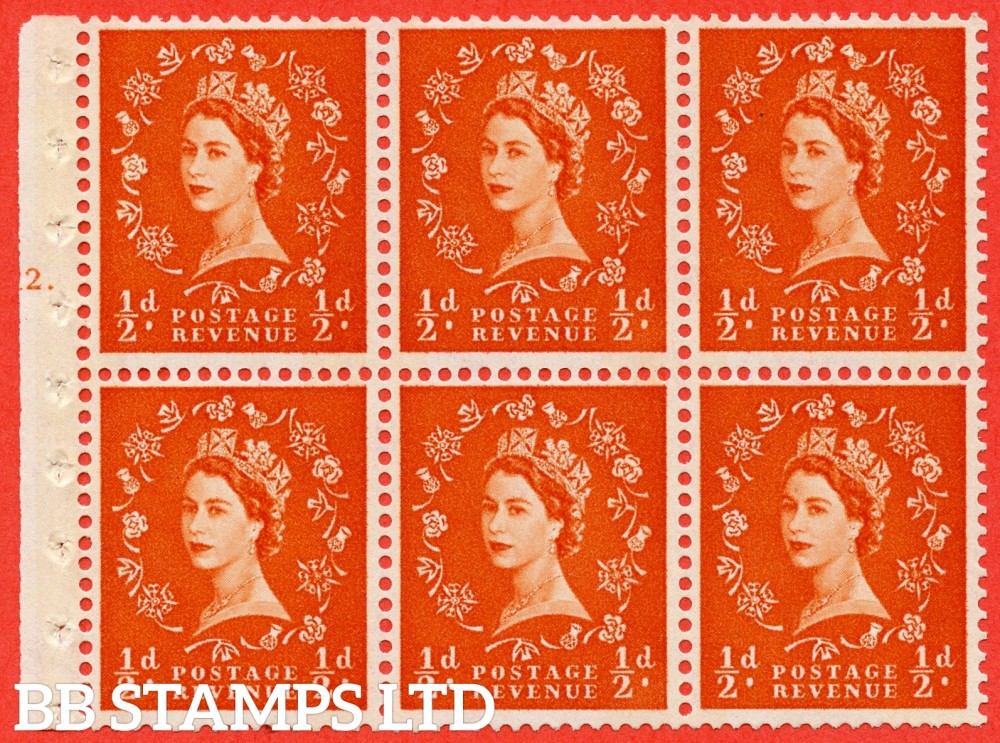 "SG. 610. SB16. ½d Orange Red. A fine UNMOUNTED MINT cylinder "" E12 T dot "" booklet pane of 6. Perf type (Iet) with GOOD PERFS. Smooth edge. Cream Paper."