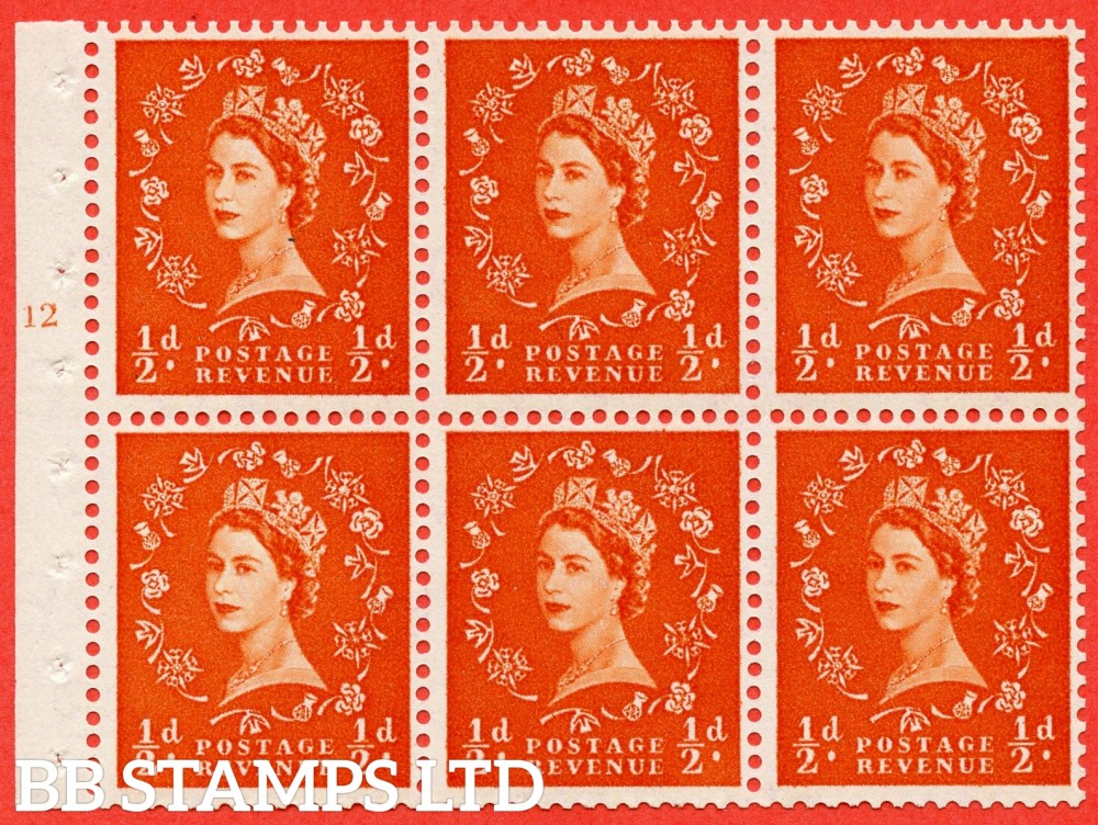 "SG. 570. SB7. ½d orange - red. A fine mounted mint cylinder "" E12 T no dot "" booklet pane of 6. Perf type (I) with TRIMMED PERFS. Smooth edge Cream paper."