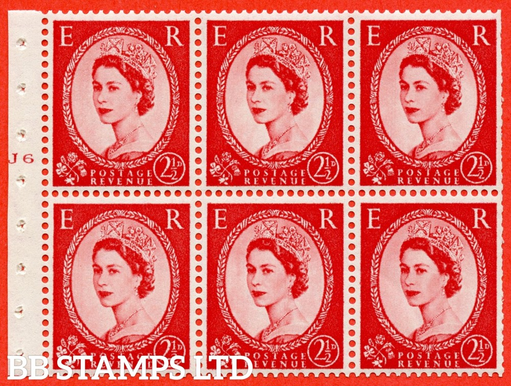 "SG. 544b. SB81. 2½d carmine - red. A fine UNMOUNTED MINT "" J6 T No dot "" booklet pane of 6. Perf type (Iet) with GOOD PERFS. Smooth edge."