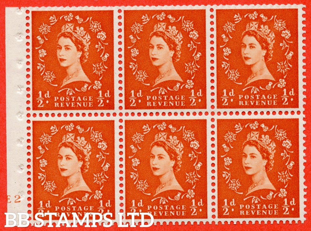 "SG. 515. SB1. ½d orange - red. A fine UNMOUNTED MINT cylinder "" E2 no dot "" booklet pane of 6. Perf type (I) with GOOD PERFS. Smooth edge."