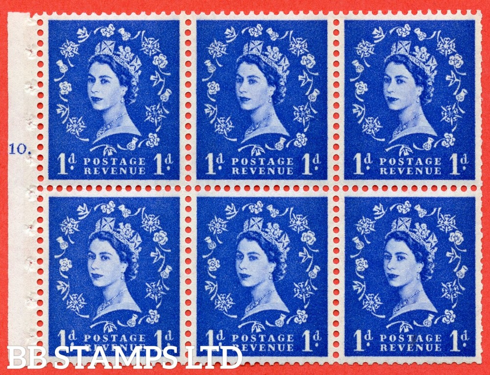 "SG. 611. SB42. 1d Ultramarine. A fine UNMOUNTED MINT cylinder "" F10 T dot "" booklet pane of 6. Perf type (Ieb) with TRIMMED PERFS. Smooth edge. White Paper."