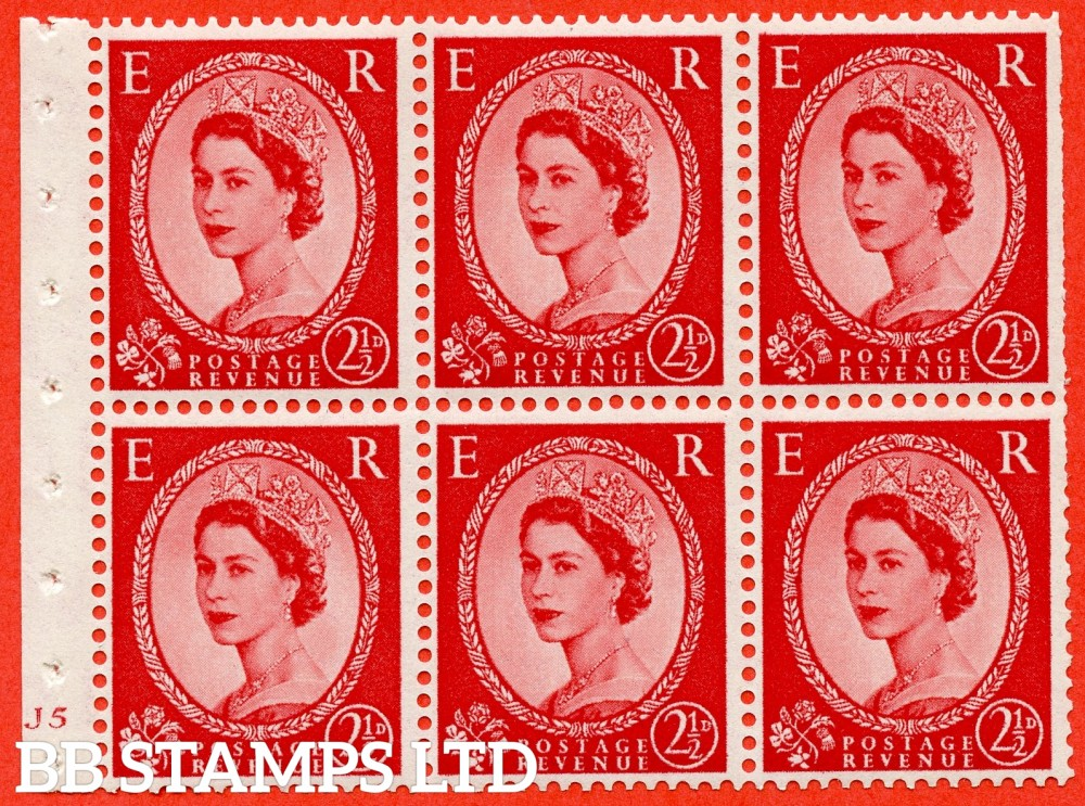 "SG. 519 b. SB80. 2½d carmine - red. A fine UNMOUNTED MINT cylinder "" J5 no dot "" booklet pane of 6. Perf type (I) with TRIMMED PERFS. Smooth edge."