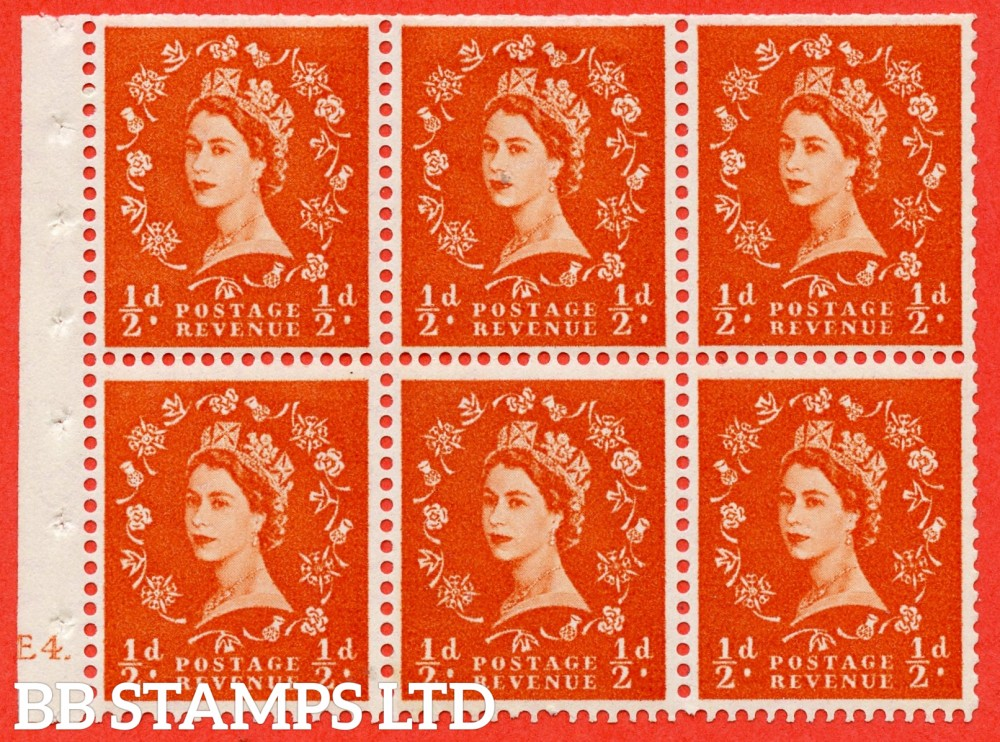 "SG. 540. SB4. ½d orange - red. A fine mounted mint cylinder "" E4 dot "" booklet pane of 6. Perf type (I) with TRIMMED PERFS. Smooth edge."