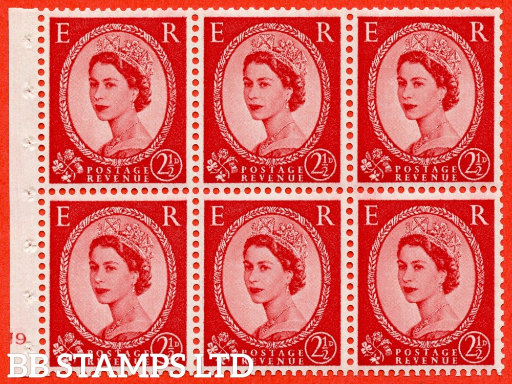 "SG. 574. SB82. 2½d Carmine Red Type II. A fine UNMOUNTED MINT cylinder "" J9 no dot "" booklet pane of 6. Perf type (Iet) with GOOD PERFS. Smooth edge. Cream paper."