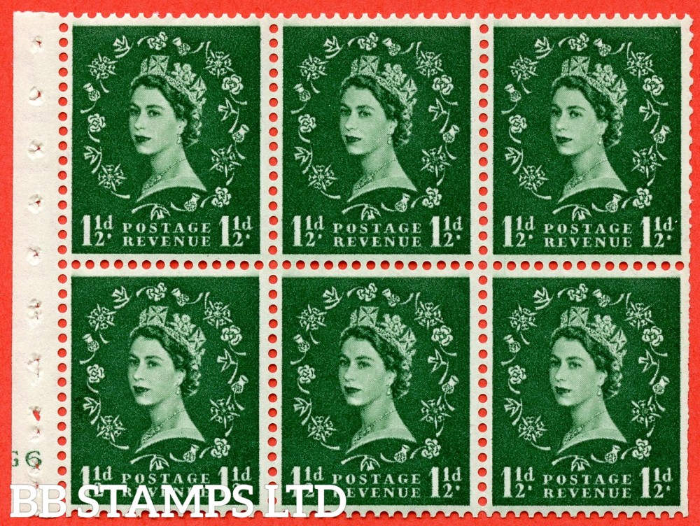 "SG. 542. SB62. 1½d green. A fine mounted mint cylinder "" G6 no dot "" booklet pane of 6. Perf type (I) with TRIMMED PERFS. Smooth edge."