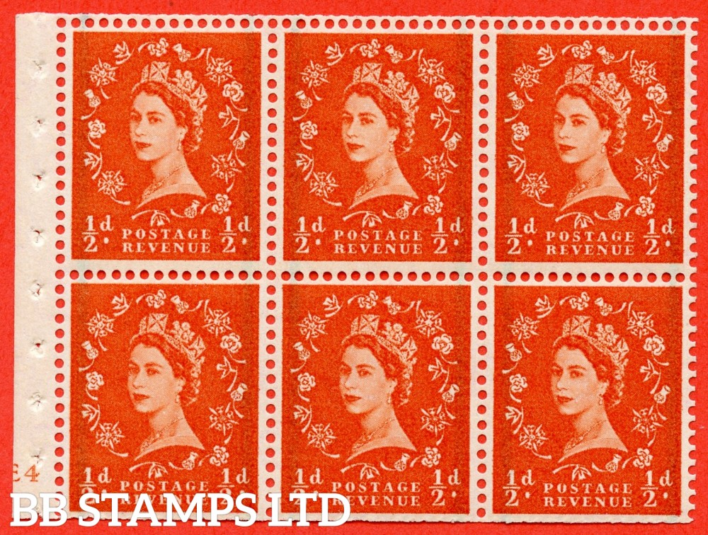 "SG. 587. SB14. ½d Orange Red. A fine mounted mint cylinder "" E4 no dot "" booklet pane of 6. Perf type (I) with TRIMMED PERFS. Smooth edge."