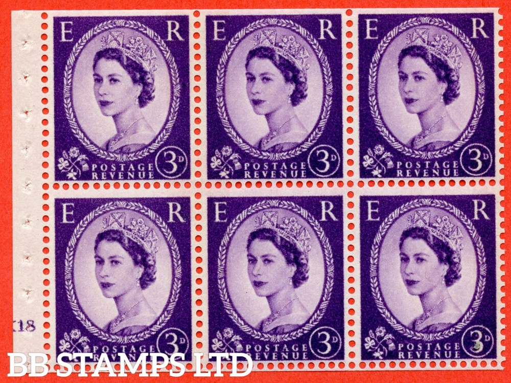 "SG. 615. SB103. 3d Deep Lilac. A fine UNMOUNTED MINT cylinder "" K18 no dot "" booklet pane of 6. Perf type (I) with TRIMMED PERFS. Smooth edge. White Paper."