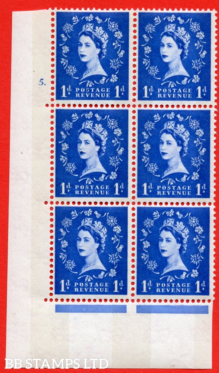 "SG.611. S24. 1d Ultramarine. A superb UNMOUNTED MINT "" cylinder 5 dot "" control block of 6 with perf type A (E/I). violet Phosphor 9½mm Band."