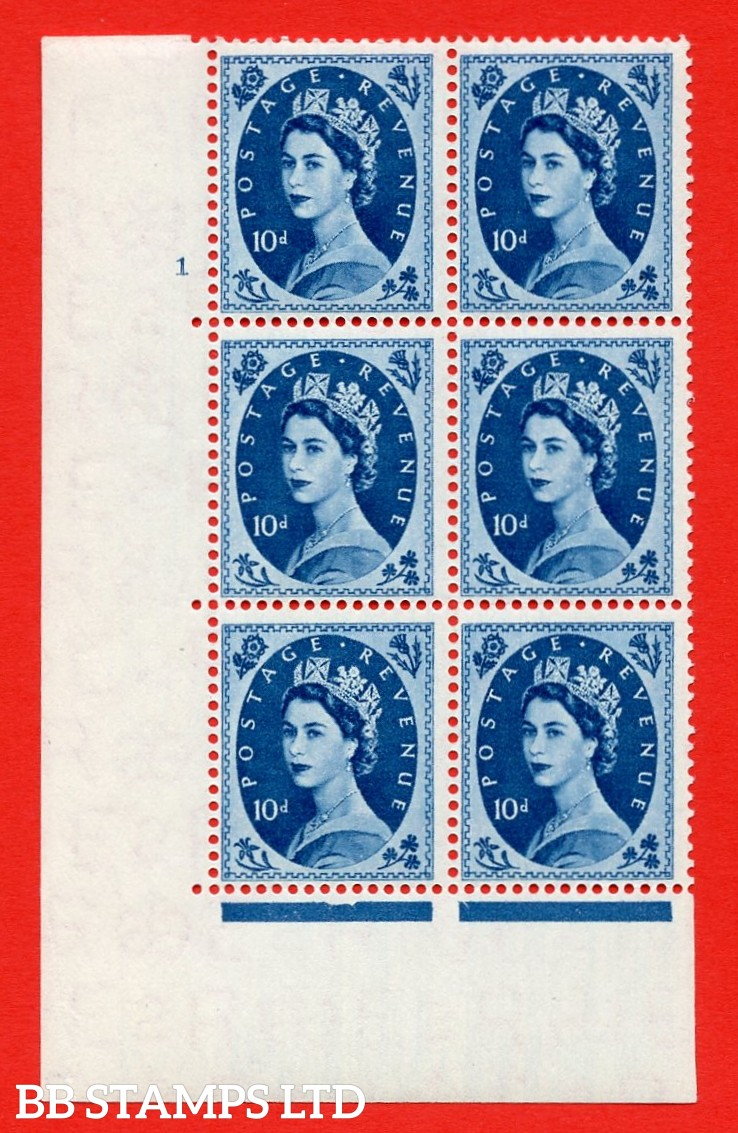 """SG. 552. S130. 10d. Prussian Blue. A superb UNMOUNTED MINT """" cylinder 1 no dot """" control block of 6 with perf type A E/I."""