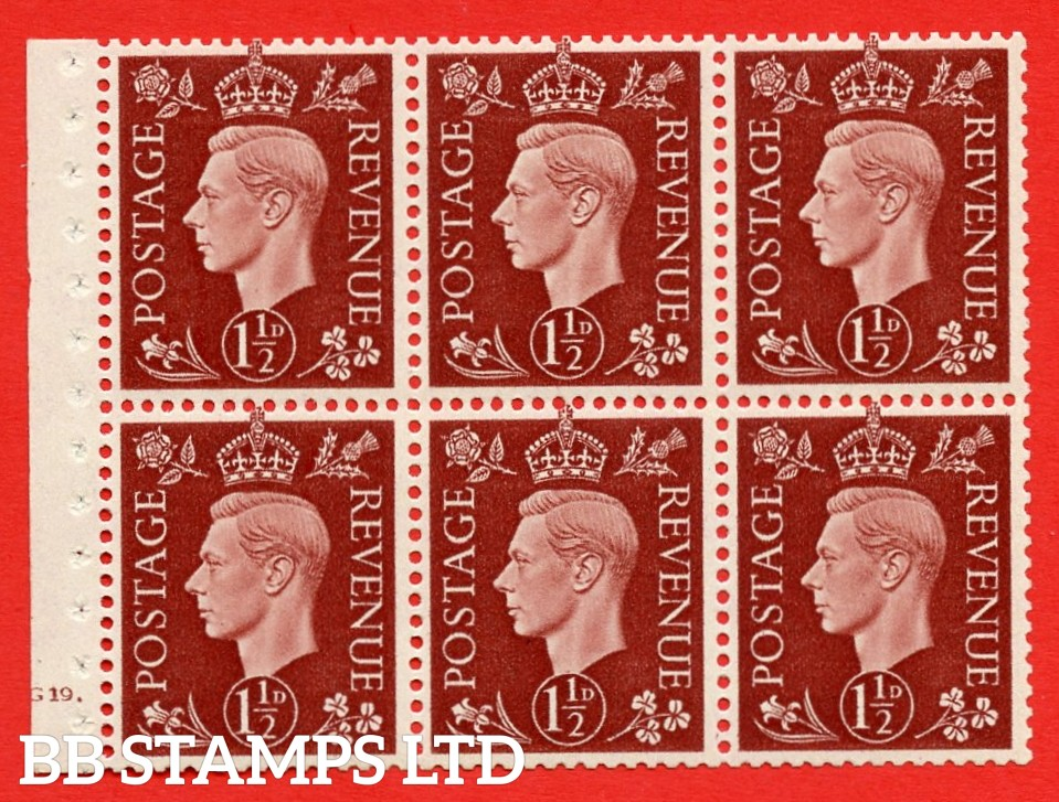 QB21 Perf Type B4A(I) 1½d Red-Brown x 6 Pane, UNMOUNTED MINT Watermark Upright. Cylinder Pane G19 dot ( SG. 464c ) Perf type B4A(I). Good Perfs.