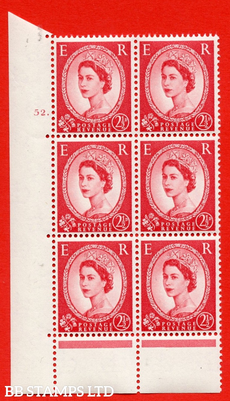 "SG. 574. S55. 2½d Carmine - red.Type II. A superb UNMOUNTED MINT "" cylinder 52 dot "" control block of 6 with perf type B I/P. CREAM paper."