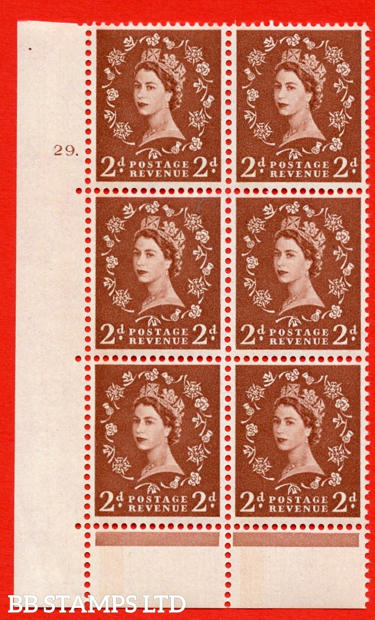 """SG.613. S45. 2d Light red brown. A superb UNMOUNTED MINT """" cylinder 29 dot """" control block of 6 with perf type C (E/P). Blue Phosphor Cream paper."""