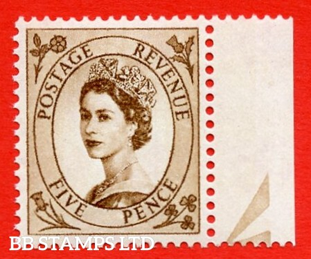 SG.616c. S103b. 5d Deep Brown. A superb UNMOUNTED MINT example. Right marginal positional single. From cylinder 1. violet Phosphor 9½mm Band. With a spot on daffodil ERROR. R.10/12 variety.