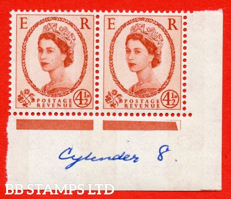 SG.616b. S98c. 4½d Chestnut. Photo. Letterpress. A superb UNMOUNTED MINT example. Bottom left corner positional pair. Blue phosphor white paper. With a phantom frame ERROR. R.20/12 variety. (cylinder 8 written in the margin)
