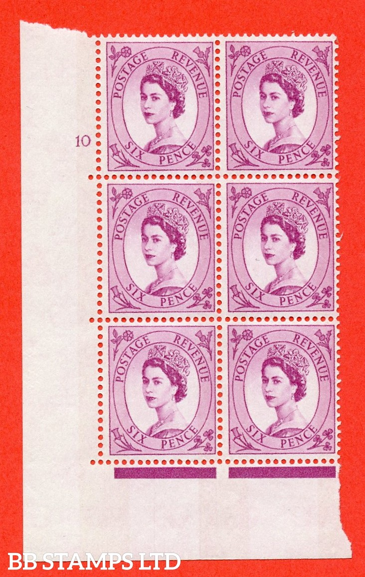 "SG.617. S111. 6d Deep Claret. Photo.  A superb UNMOUNTED MINT "" cylinder 10 no dot "" control block of 6 with perf type A (E/I). Blue Phosphor White paper."