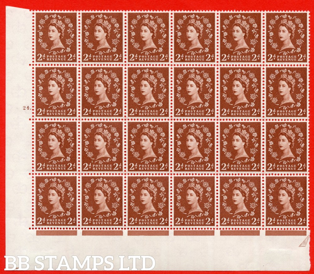 SG. 573. S40d. 2d light red brown . A superb MOUNTED MINT example. Bolck of 24 from cylinder 24 dot. Cream paper. With a Tadpole retouch ERROR. R.17/6 ( variety is UM)