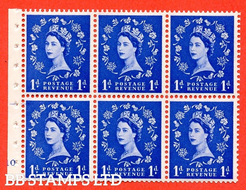 "SG. 571. SB30. 1d Ultramarine. A fine UNMOUNTED MINT cylinder "" F10 no dot "" booklet pane of 6. Perf type (I) with GOOD PERFS. Smooth edge Cream paper."