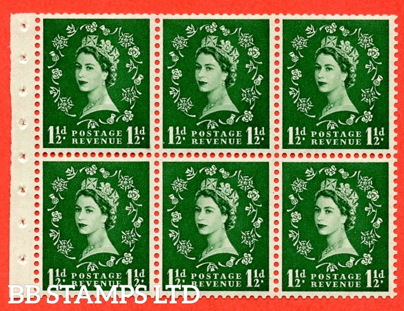 SG. 517. SB59. 1½d green. A fine UNMOUNTED MINT complete booklet pane of 6. Perf type (IR) with Trimmed PERFS.