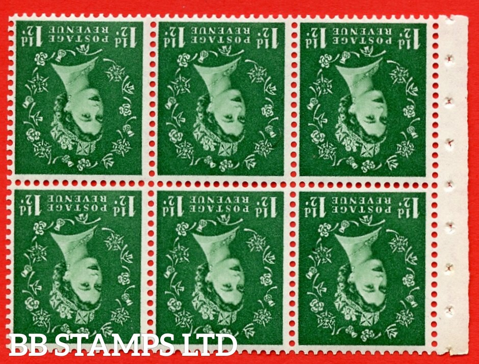 SG. 517wi. SB59a. 1½d green. A fine UNMOUNTED MINT. WATERMARK INVERTED. complete booklet pane of 6. Perf type (IR) with Good PERFS.