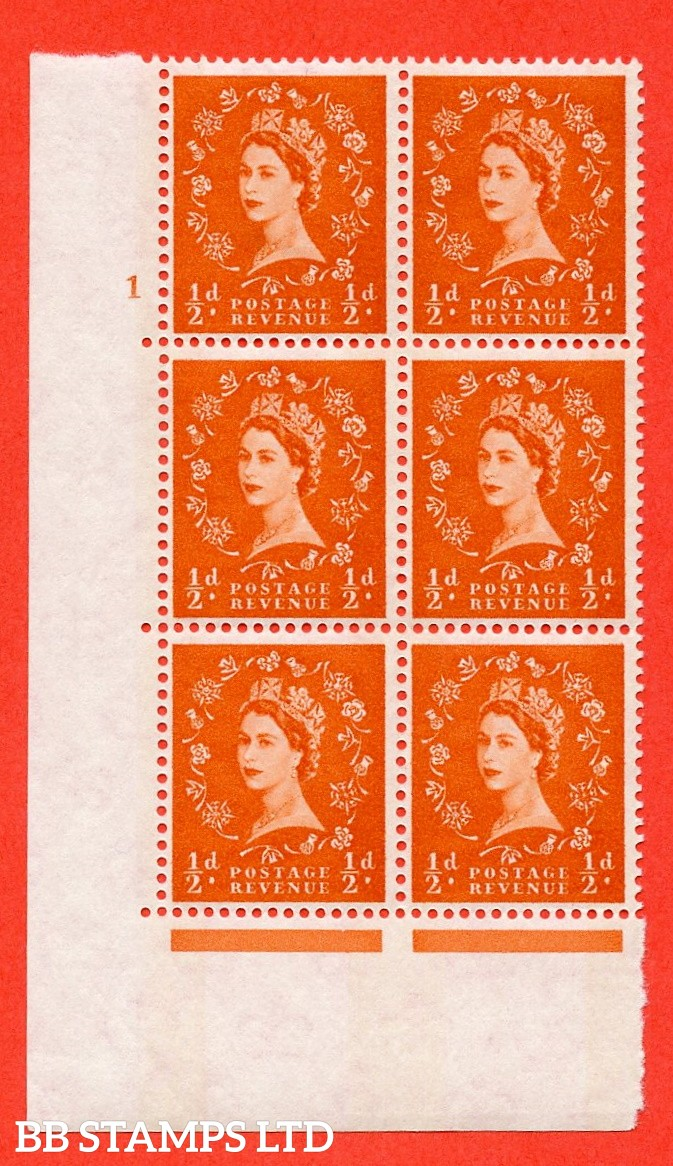 "SG.610. S12. ½d Orange red. A superb UNMOUNTED MINT "" cylinder 1 no dot "" control block of 6 with perf type A (E/I). violet Phosphor 8mm Band."