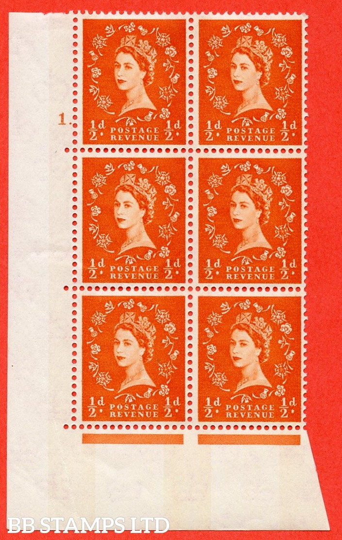 "SG.610. S10. ½d Orange red. A fine mounted mint "" cylinder 1 dot "" control block of 6 with perf type A (E/I). Blue Phosphor Cream paper."