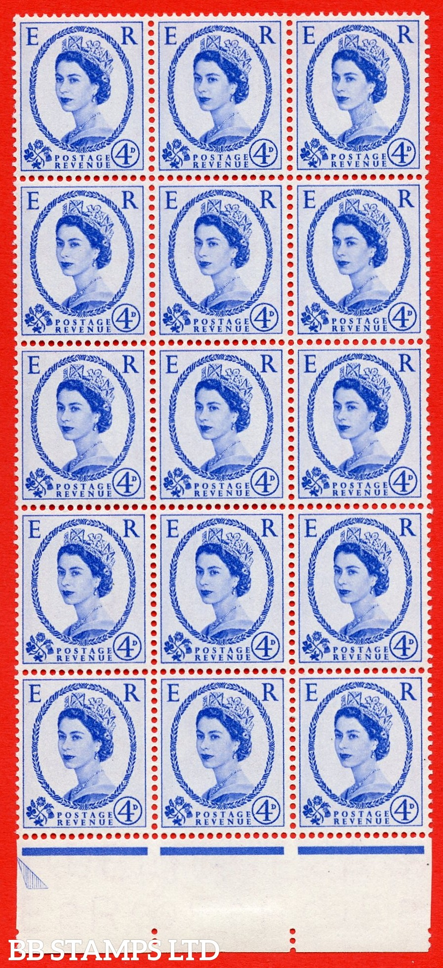 SG. 546. S82d. 4d. Ultramarine. A superb UNMOUNTED MINT example. Bottom marginal positional Block of 15. With a Retouched neck ERROR R.16/9 variety.