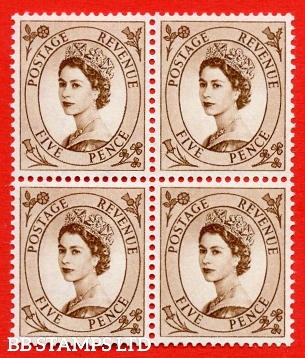 "SG. 547. S100a. 5d. Brown. A superb UNMOUNTED MINT example. Block of 4. Variety Spot by ""E"" of ""POSTAGE"" (No Dot R.4/8)."