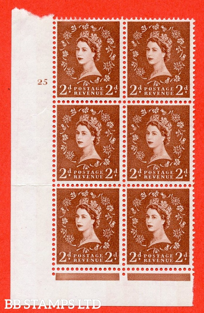 "SG.613a. S49. 2d Light Red Brown. A fine mounted mint "" cylinder 25 no dot "" control block of 6 with perf type Fl (I/E). violet Phosphor 9½mm Band."