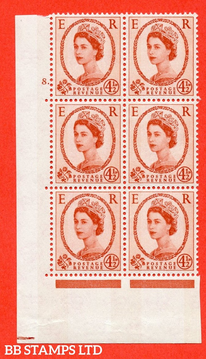 "SG.616b. S98. 4½d Chestnut. Photo.  A fine mounted mint "" cylinder 8 dot "" control block of 6 with perf type A (E/I). Blue Phosphor White paper."