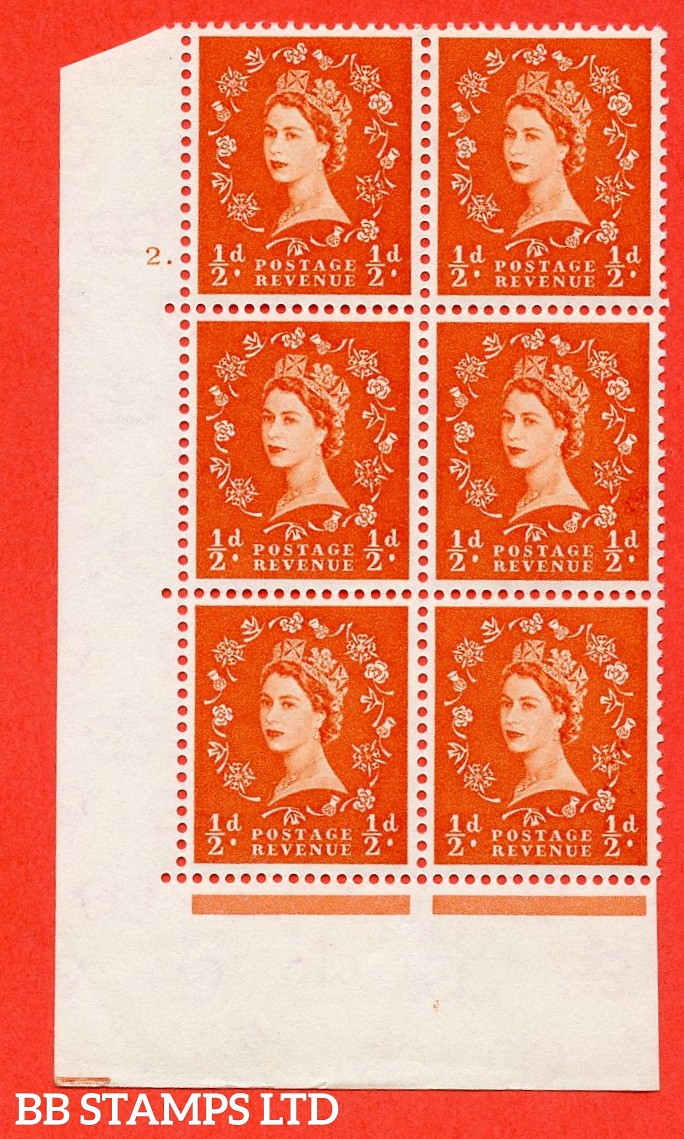 "SG. 570. S4 h. ½d Orange. A superb UNMOUNTED MINT "" cylinder 2 dot "" control block of 6 with perf type A E/I. CREAM paper. With the listed "" Major retouch (cyl. 2 Dot, R19/2) "" variety."