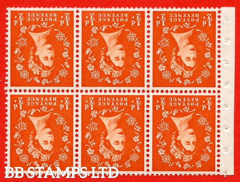SG. 515Wi. SB1a. ½d orange - red. A fine UNMOUNTED MINTexample. INVERTED WATERMARK. Complete Booklet pane of 6. Perf Type IS. Good perfs.