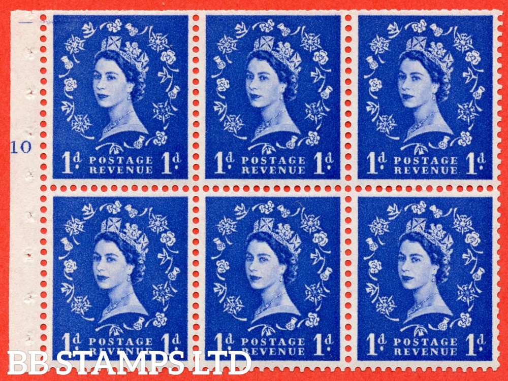 "SG. 571. SB30. 1d Ultramarine. A fine mounted mint cylinder "" F10 T No dot "" booklet pane of 6. Perf type (I) with TRIMMED PERFS. Smooth edge Cream paper."