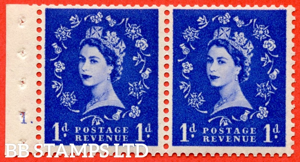 "SG. 516. SB22. 1d ultramarine. A fine UNMOUNTED MINT cylinder "" 1 dot "" booklet pane of 2. Perf type (E) with GOOD PERFS. Smooth edge"