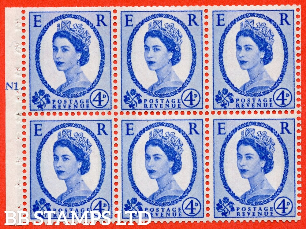 "SG. 616a. SB109. 4d Deep Ultramarine. A fine mounted mint cylinder "" N1 T dot "" booklet pane of 6. Perf type (Ieb) with TRIMMED PERFS. Smooth edge. White Paper."