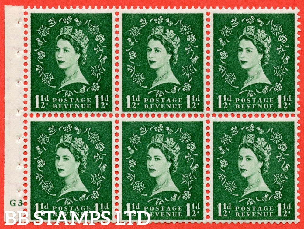 "SG. 517. SB59. 1½d green. A fine UNMOUNTED MINT cylinder "" G3 no dot "" booklet pane of 6. Perf type (I) with GOOD PERFS. Smooth edge."