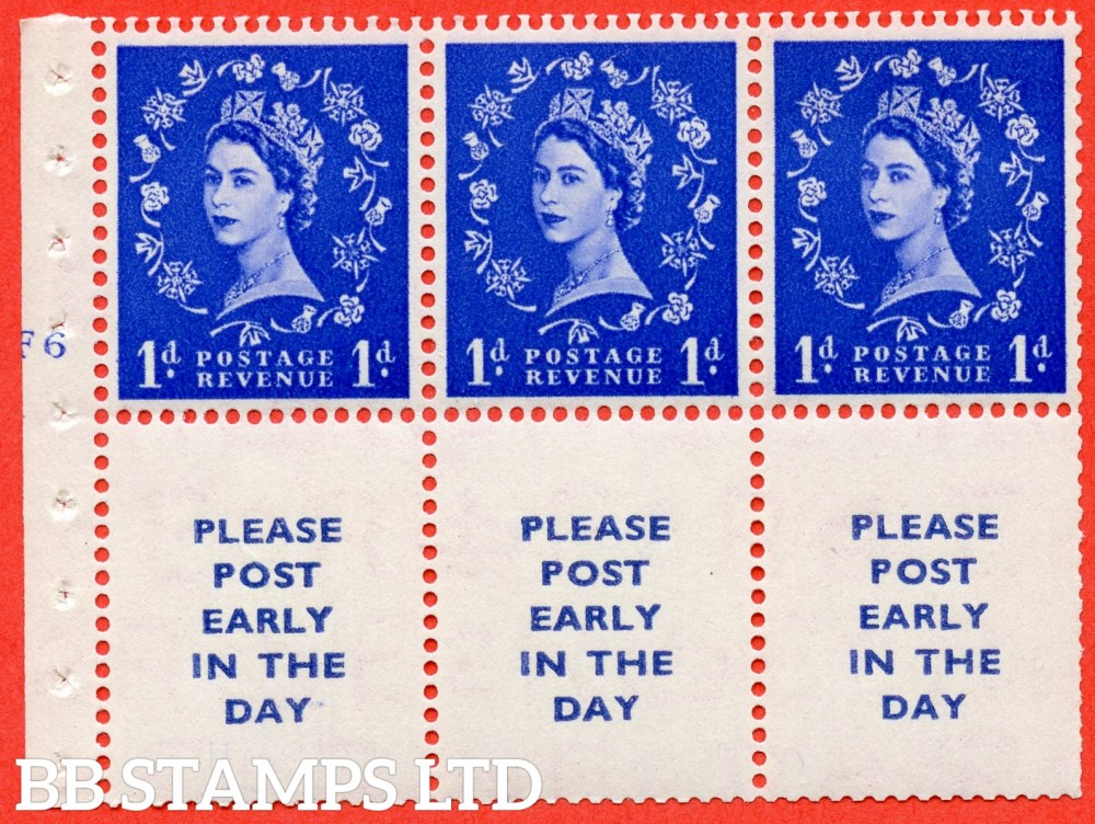 "SG. 516. SB24. 1d ultramarine. A fine UNMOUNTED MINT cylinder "" F6 no dot "" booklet pane of 6. Perf type (I) with TRIMMED PERFS. Smooth edge."