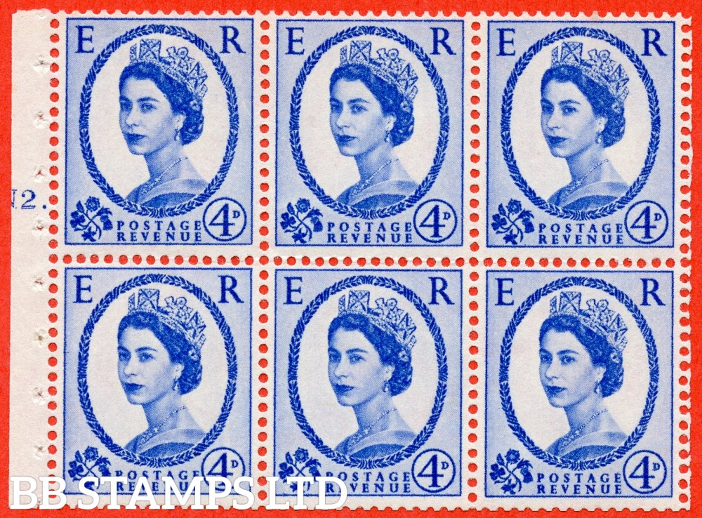"SG. 576a. SB105. 4d Deep Ultramarine. A fine UNMOUNTED MINT cylinder "" N2 T dot "" booklet pane of 6. Perf type (Iet) with GOOD PERFS. Smooth edge. White paper"