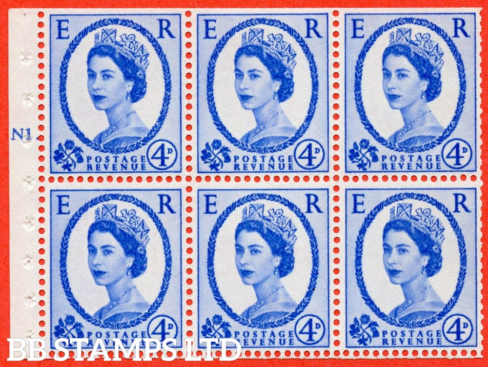 "SG. 576a. SB105. 4d Deep Ultramarine. A fine mounted mint cylinder "" N1 T dot "" booklet pane of 6. Perf type (Iet) with TRIMMED PERFS. Smooth edge. White paper."