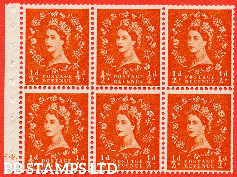 "SG. 570. SB7. ½d orange - red. A fine mounted mint cylinder "" E4 dot "" booklet pane of 6. Perf type (Iet) with TRIMMED PERFS. Smooth edge."