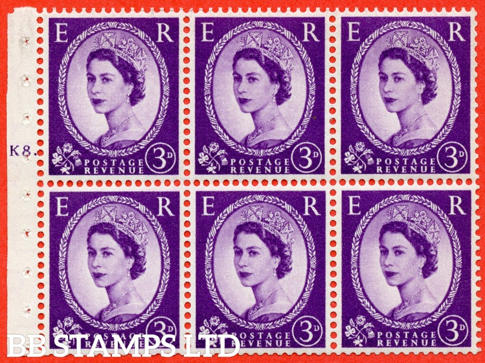 "SG. 545. SB90. 3d Deep Lilac. A fine mounted mint cylinder "" K8 T  dot "" booklet pane of 6. Perf type (Iet) with TRIMMED PERFS. Smooth edge."